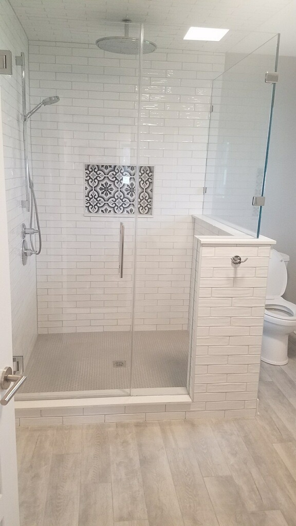 3×12 handmade look  Subway tile with porcelain wood tile