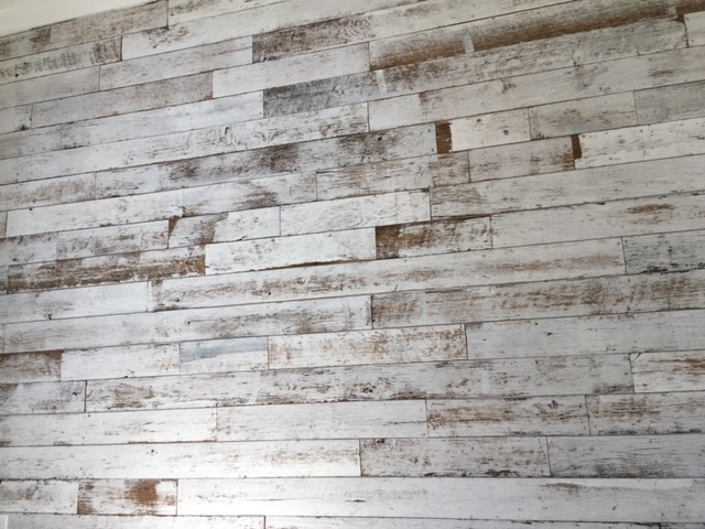 Painted white distressed wood tile