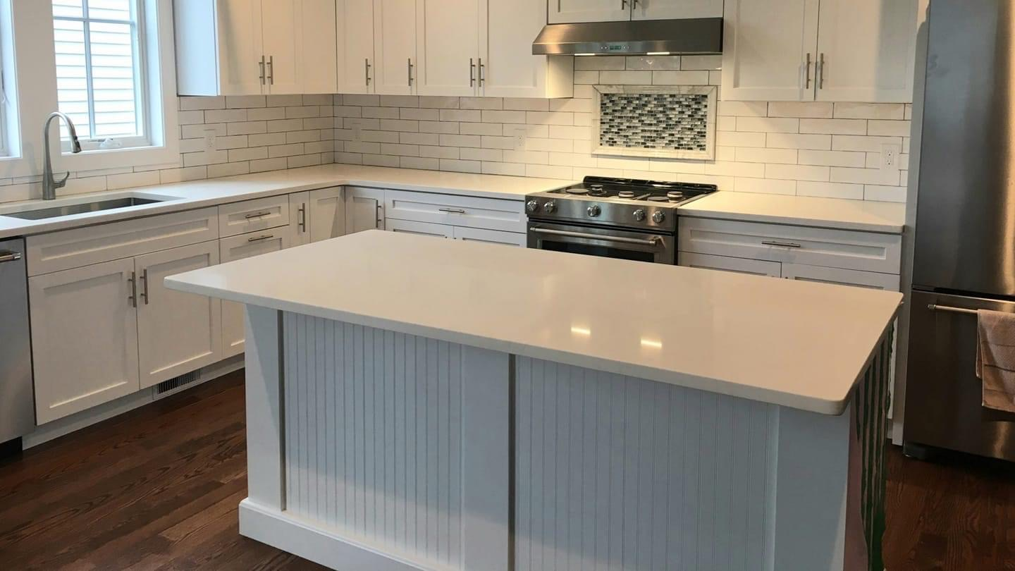 White subway Backsplash with Glass mosaic