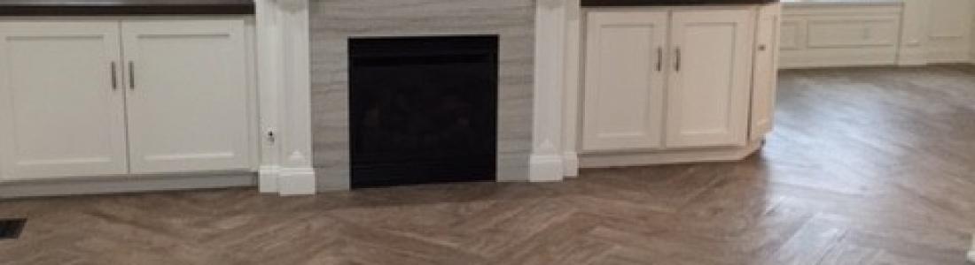 Wood Floor tile installed in a herringbone pattern