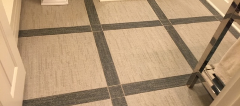 Porcelain floor tile trimmed with charcoal tile