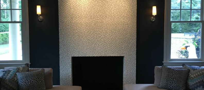 Mosaic glass & Mother of Pearl Fireplace
