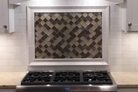3×6 White Subway Tile with Glass mosaic